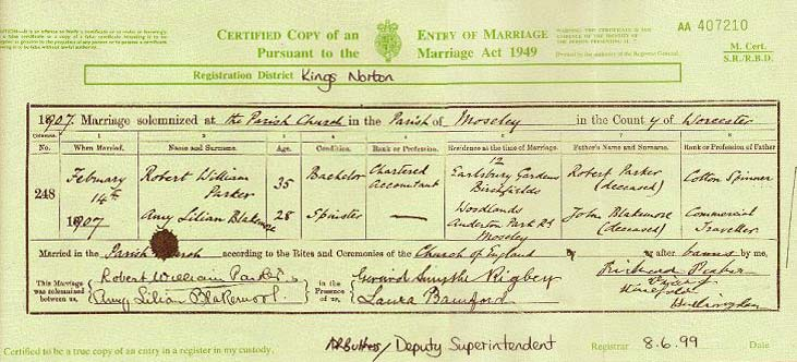 Norasearch: Marriage Certificate (Robert and Amy)